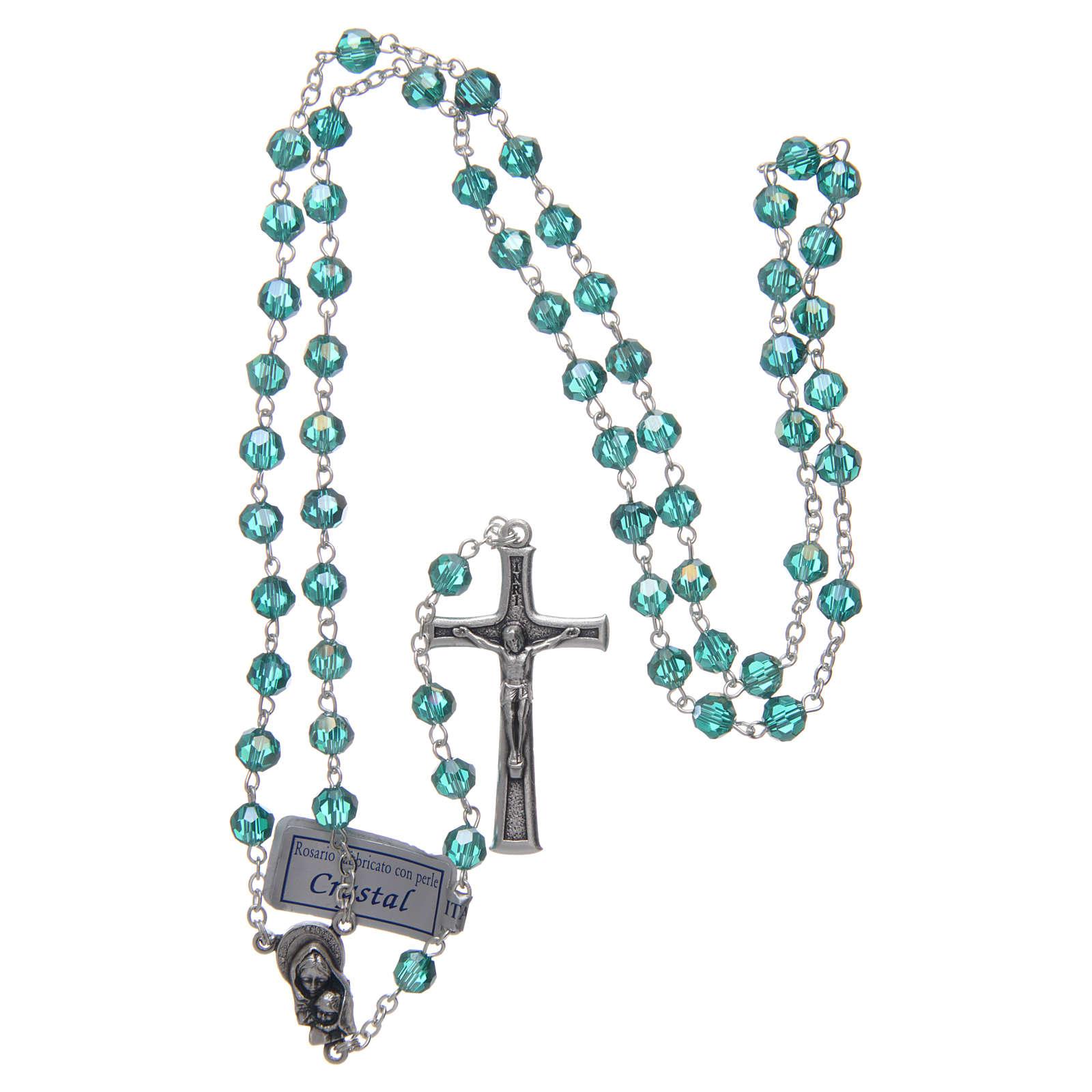 Rosario in cristallo smeraldo e metallo ossidato 4
