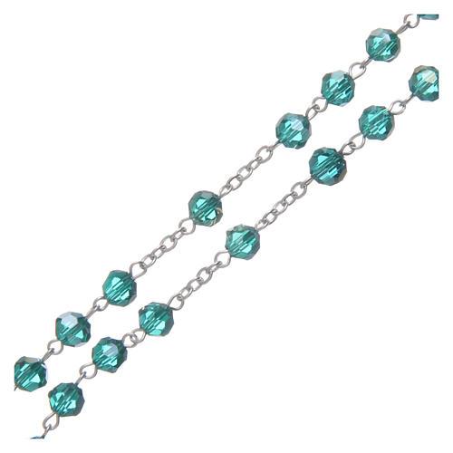 Rosario in cristallo smeraldo e metallo ossidato 3