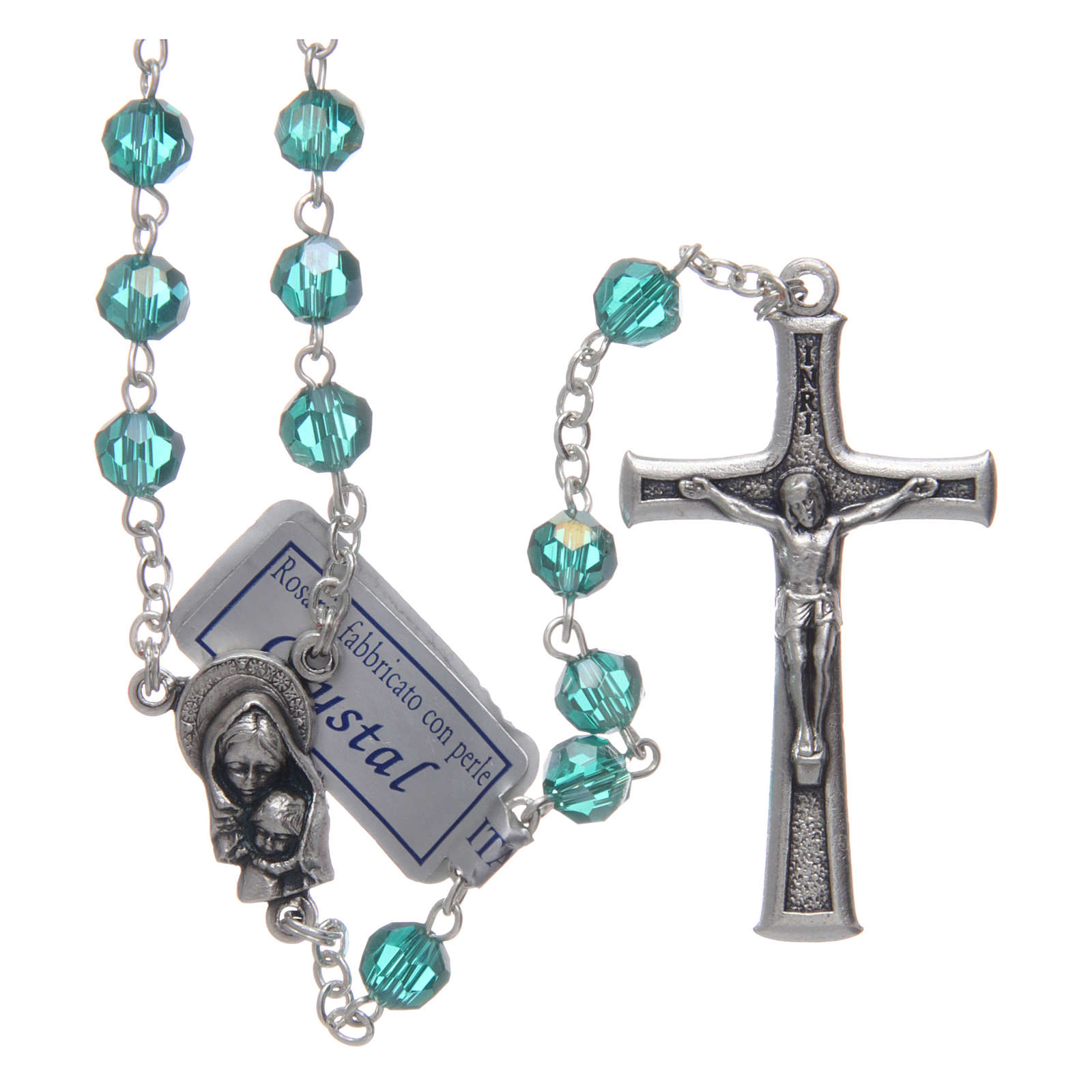Rosary in emerald crystal and oxidised metal 4