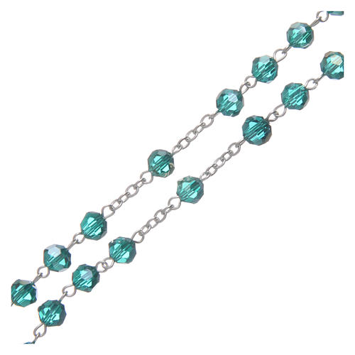 Rosary in emerald crystal and oxidised metal 3