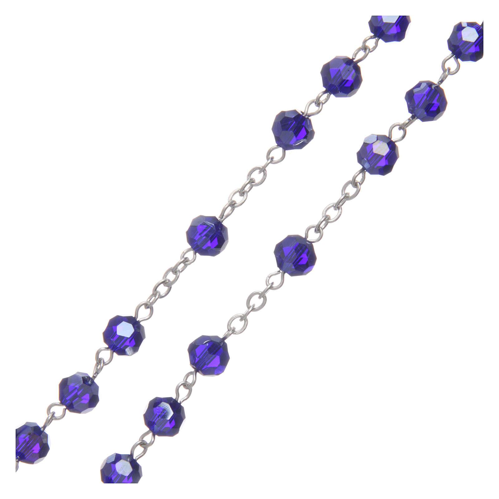 Chapelet en cristal bleu métal oxydé 4