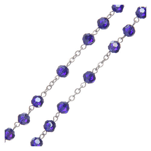 Rosario in cristallo blu e metallo ossidato 3