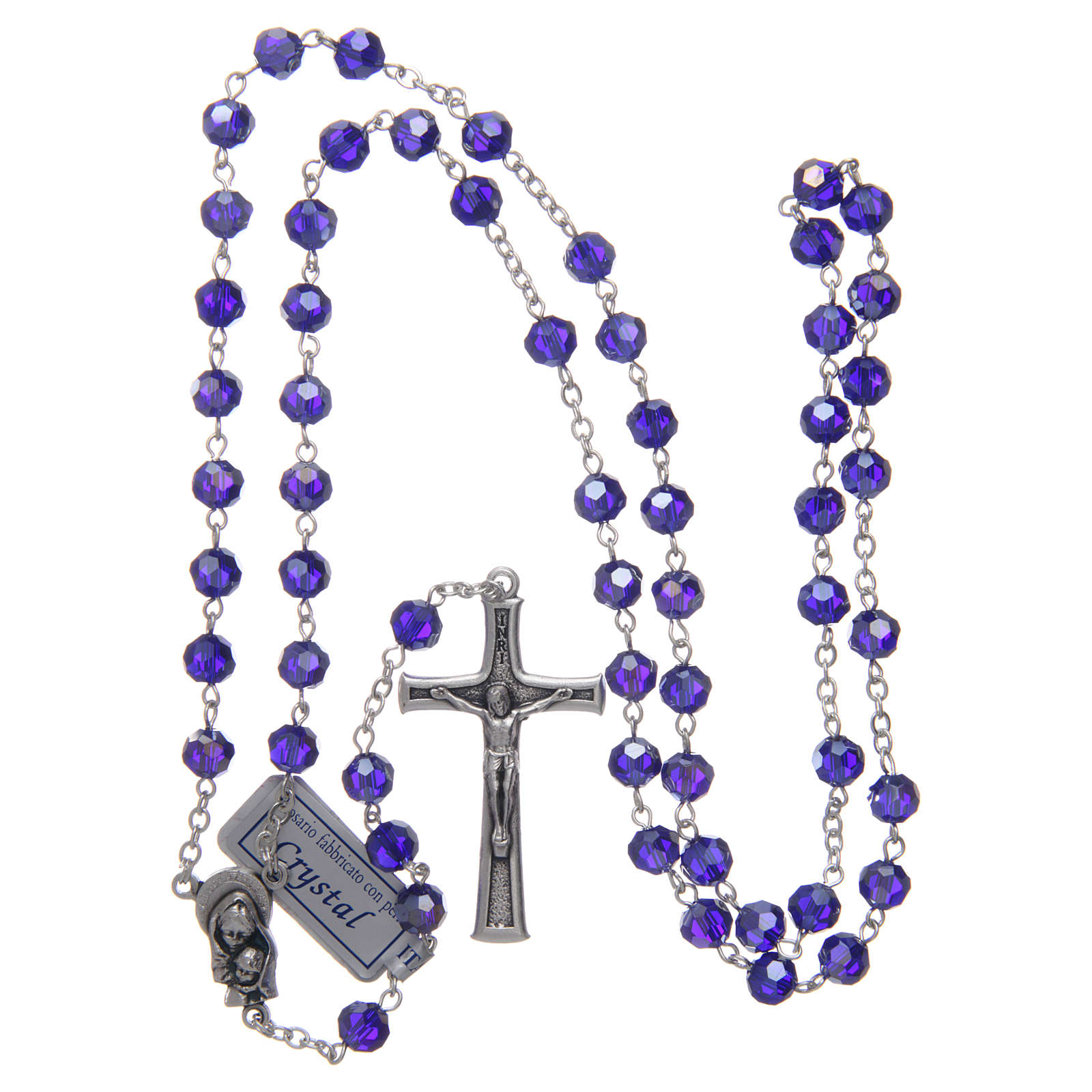Rosary in blue crystal and oxidised metal 4