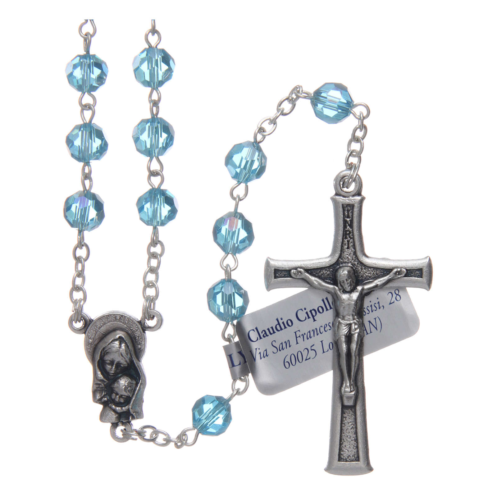 Rosary in aqua green crystal and oxidised metal 4