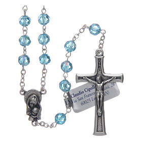 Rosary in aqua green crystal and oxidised metal s1