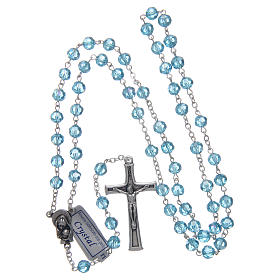 Rosary in aqua green crystal and oxidised metal s4