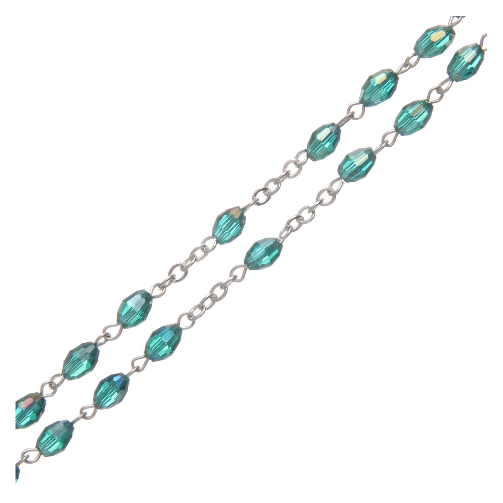 Rosario smeraldo in cristallo con croce e crociera in metallo ossidato 4