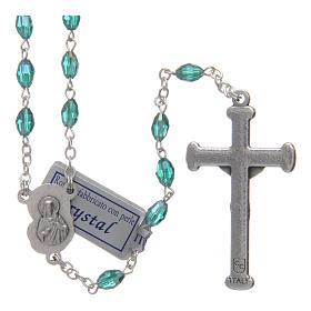 Rosario smeraldo in cristallo con croce e crociera in metallo ossidato s2