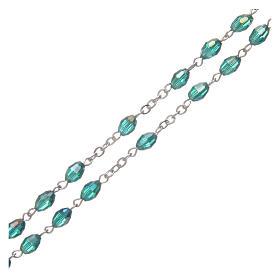 Rosario smeraldo in cristallo con croce e crociera in metallo ossidato s3