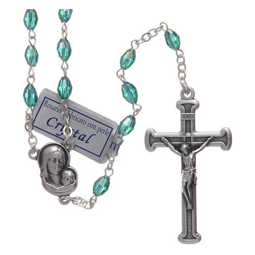Rosario smeraldo in cristallo con croce e crociera in metallo ossidato 1