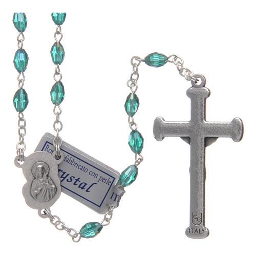 Rosario smeraldo in cristallo con croce e crociera in metallo ossidato 2