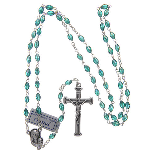 Rosary in emerald crystal with cross and center piece in oxidised metal 4