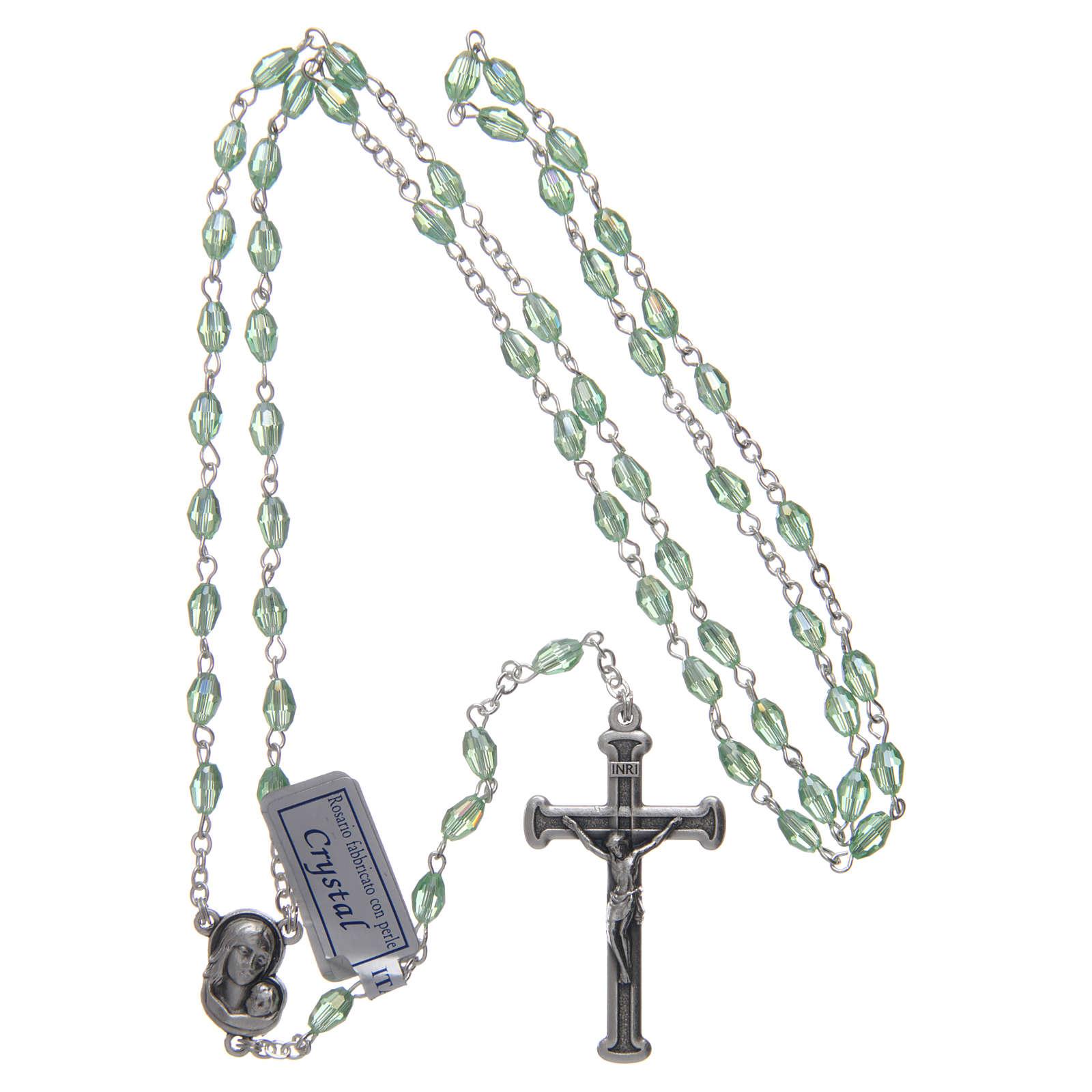 Rosario verde de cristal con cruz y cruce de metal oxidado 4