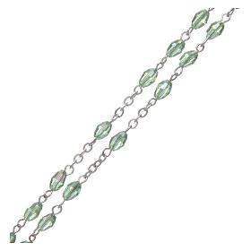 Rosario verde de cristal con cruz y cruce de metal oxidado s3