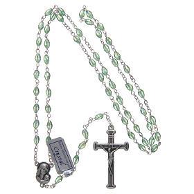 Rosario verde de cristal con cruz y cruce de metal oxidado s4