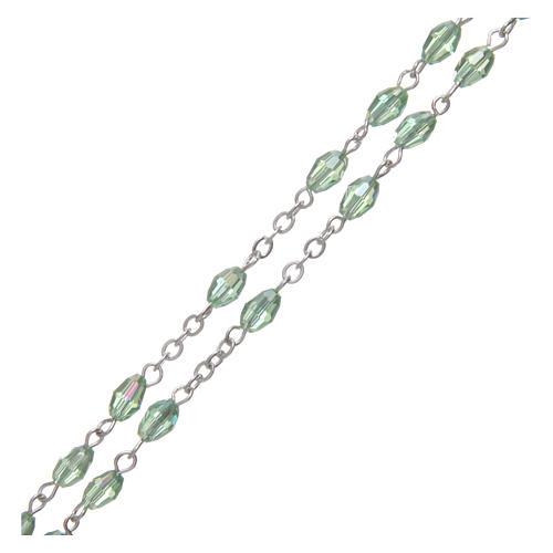 Rosario verde de cristal con cruz y cruce de metal oxidado 3