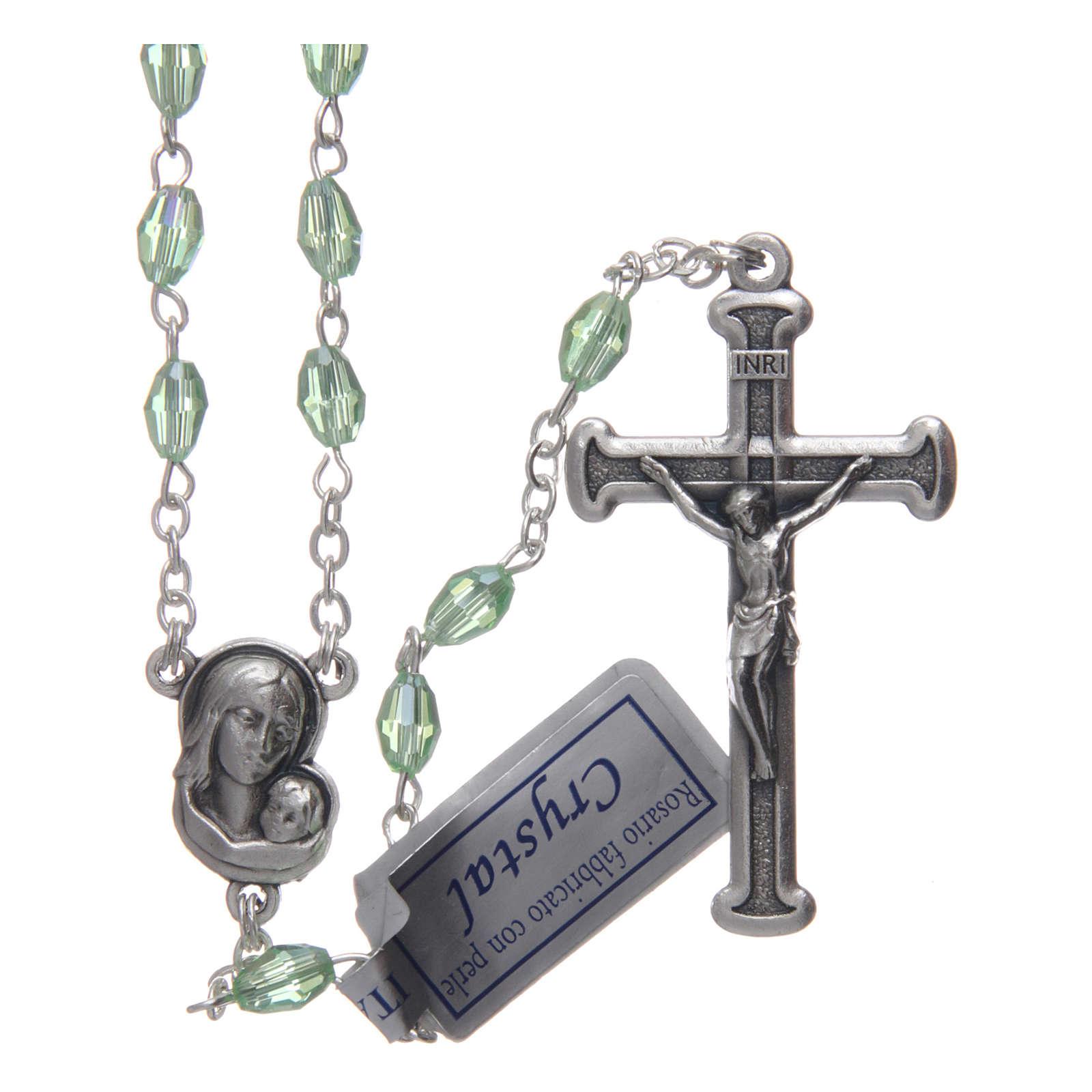 Rosario verde in cristallo con croce e crociera in metallo ossidato 4
