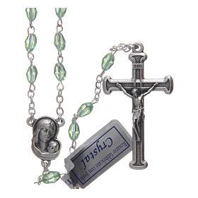Rosari cristallo: Rosario verde in cristallo con croce e crociera in metallo ossidato