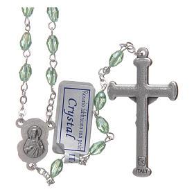 Rosario verde in cristallo con croce e crociera in metallo ossidato s2