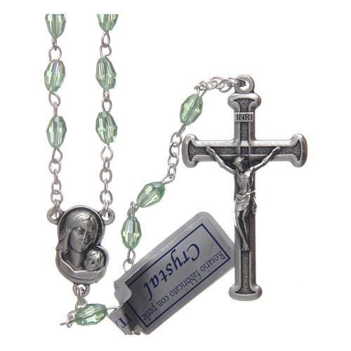 Rosario verde in cristallo con croce e crociera in metallo ossidato 1