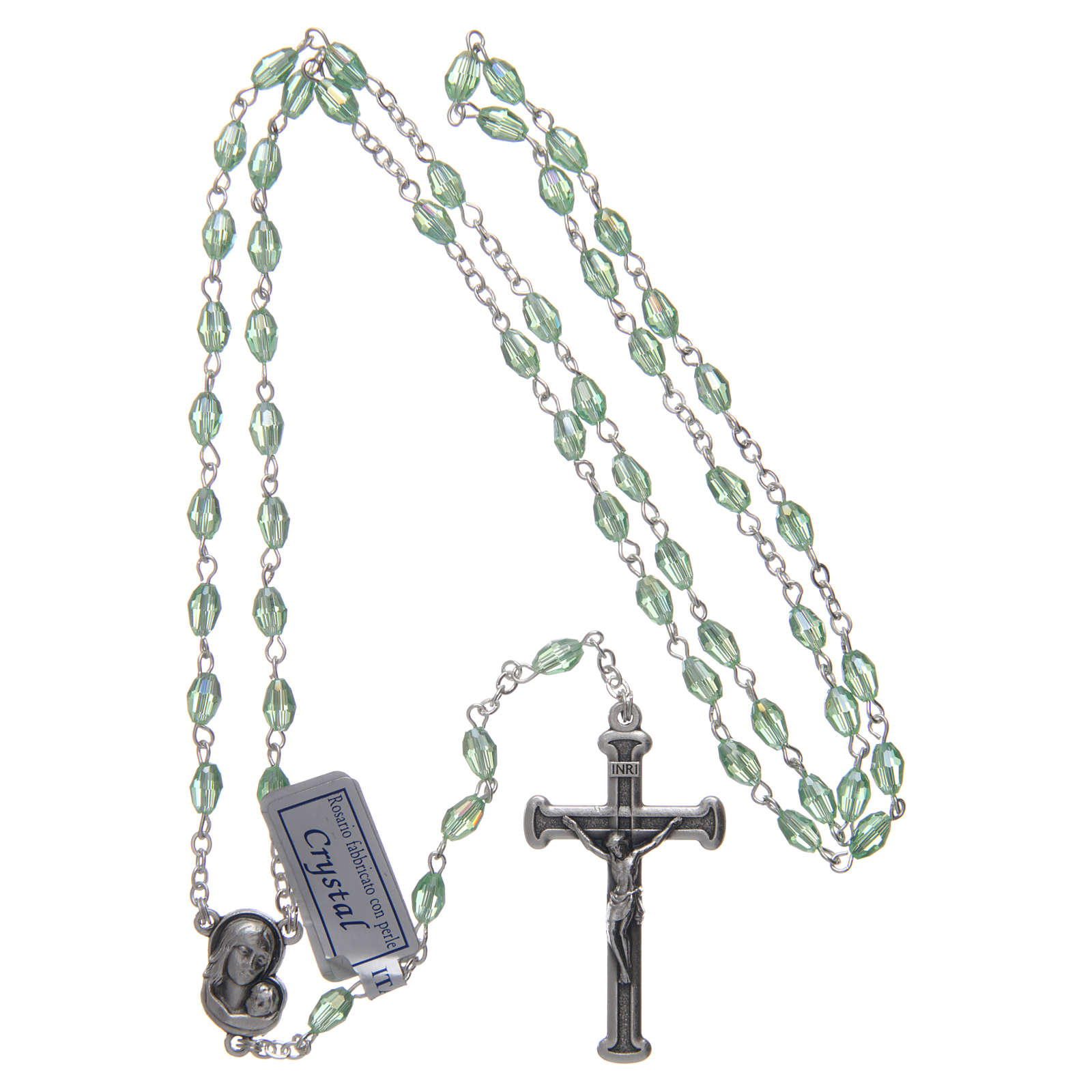 Rosary in green crystal with cross and center piece in oxidised metal 4