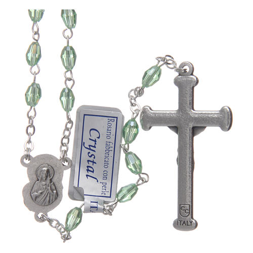 Rosary in green crystal with cross and center piece in oxidised metal 2