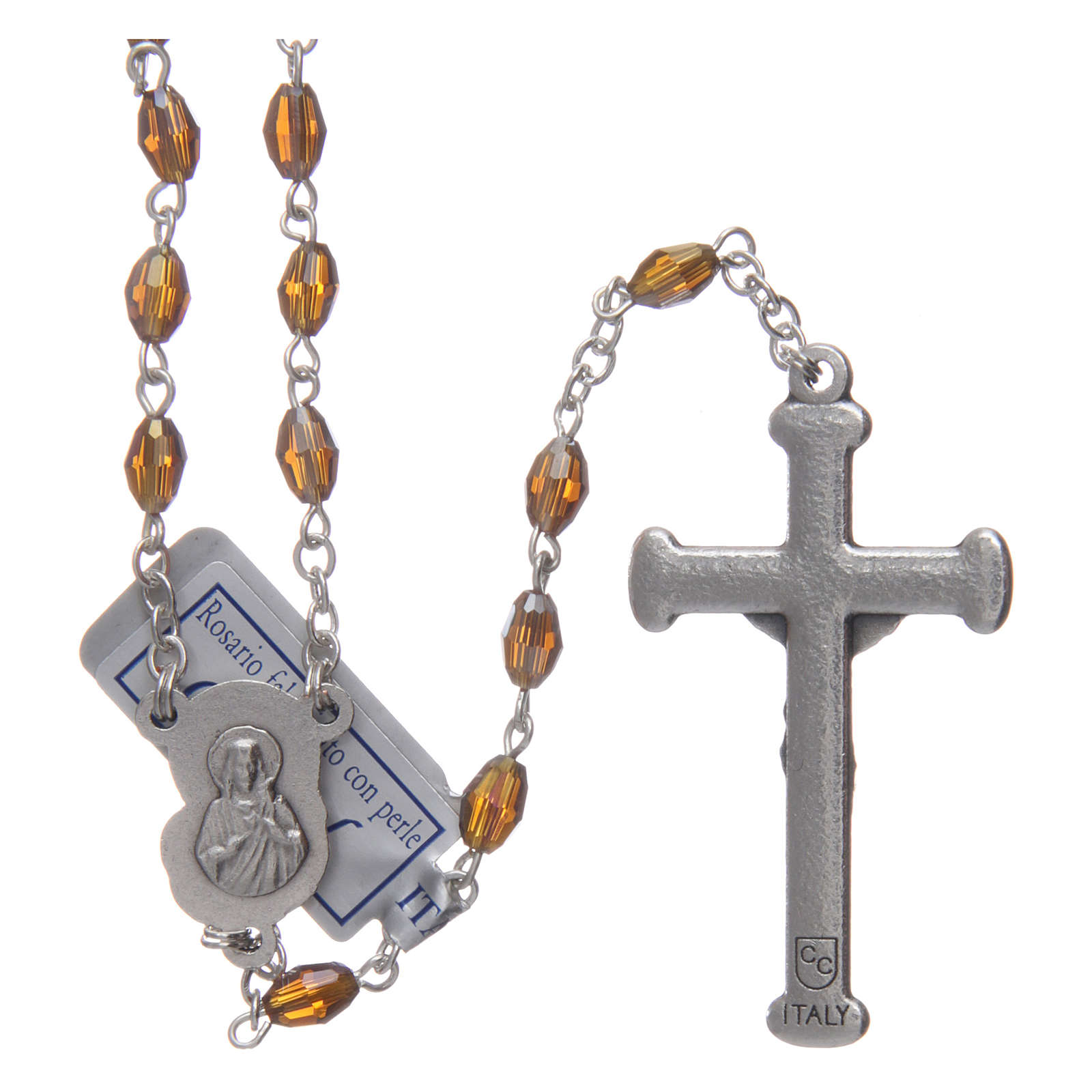 Rosary in smoky grey crystal with cross and center piece in oxidised metal 4