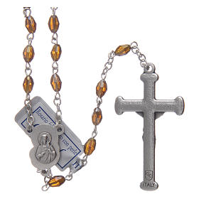 Rosary in smoky grey crystal with cross and center piece in oxidised metal s2