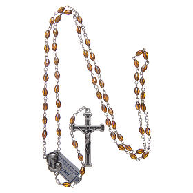 Rosary in smoky grey crystal with cross and center piece in oxidised metal s4