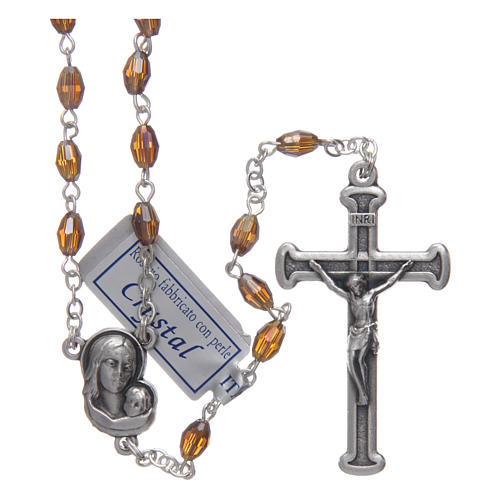 Rosary in smoky grey crystal with cross and center piece in oxidised metal 1