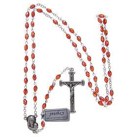 Rosario rubino in cristallo con croce e crociera in metallo ossidato s4