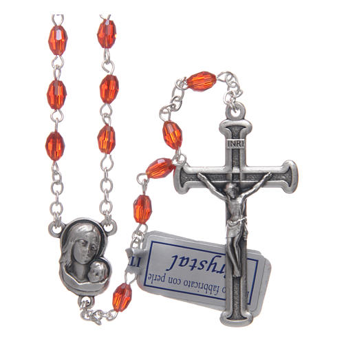 Rosary in ruby crystal with cross and center piece in oxidised metal 1