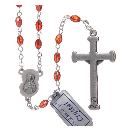 Rosary in ruby crystal with cross and center piece in oxidised metal 2