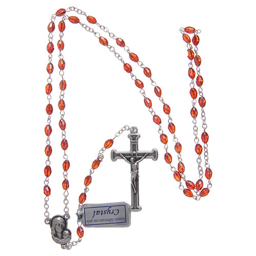 Rosary in ruby crystal with cross and center piece in oxidised metal 4