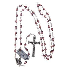 Chapelet améthyste en cristal avec croix et médaille en métal oxydé s4