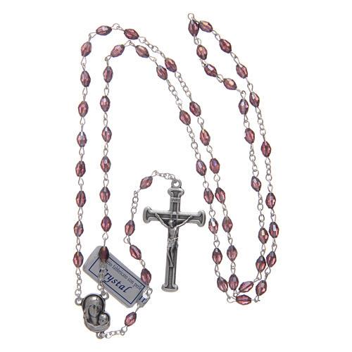 Chapelet améthyste en cristal avec croix et médaille en métal oxydé 4