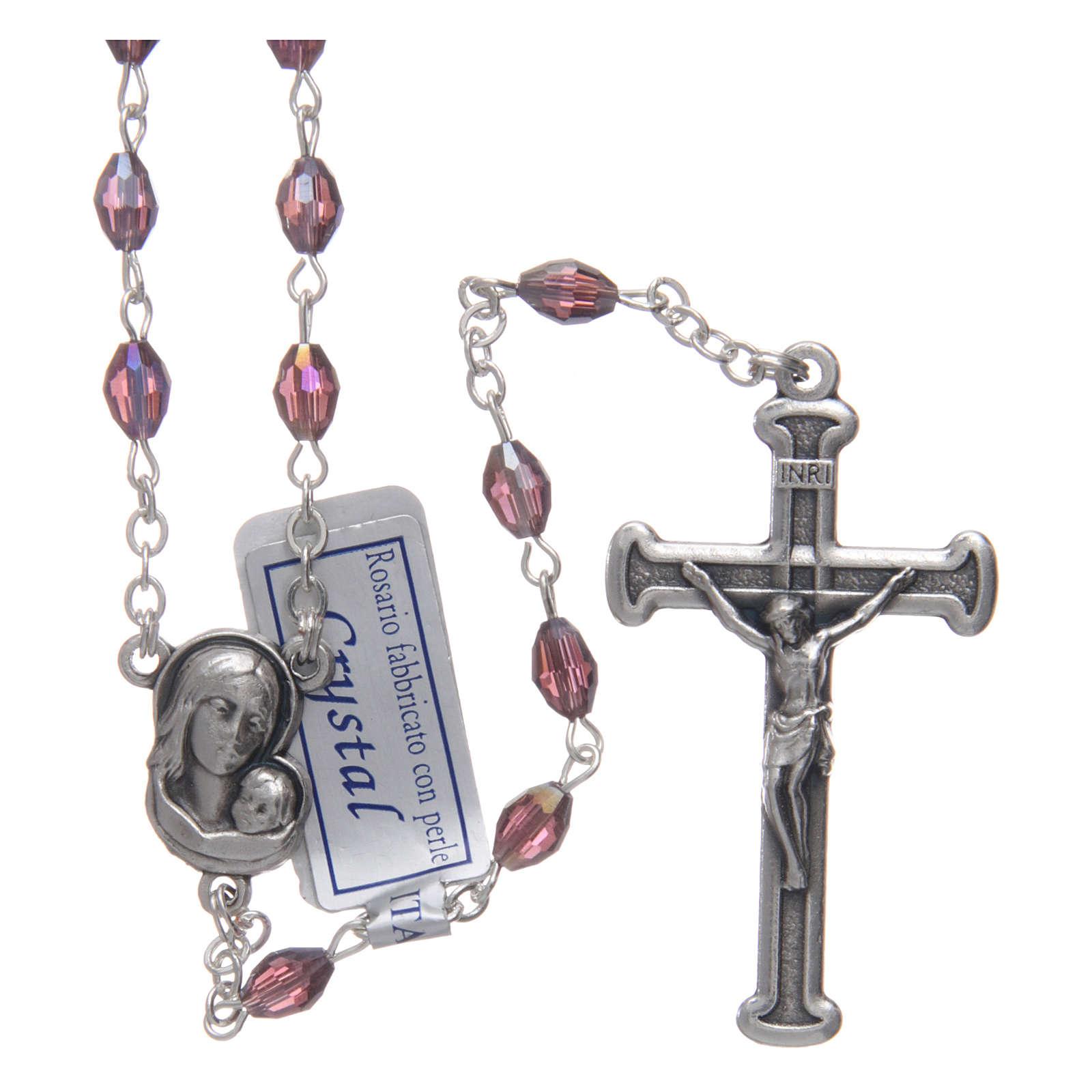 Rosario ametista in cristallo con croce e crociera in metallo ossidato 4