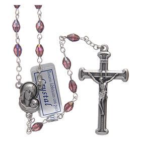 Rosario ametista in cristallo con croce e crociera in metallo ossidato s1