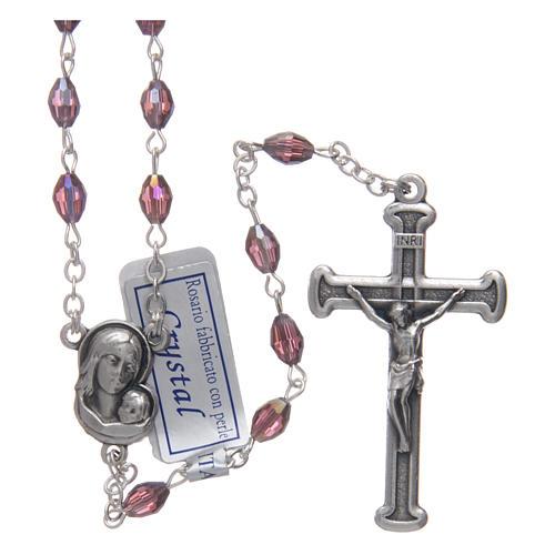 Rosario ametista in cristallo con croce e crociera in metallo ossidato 1