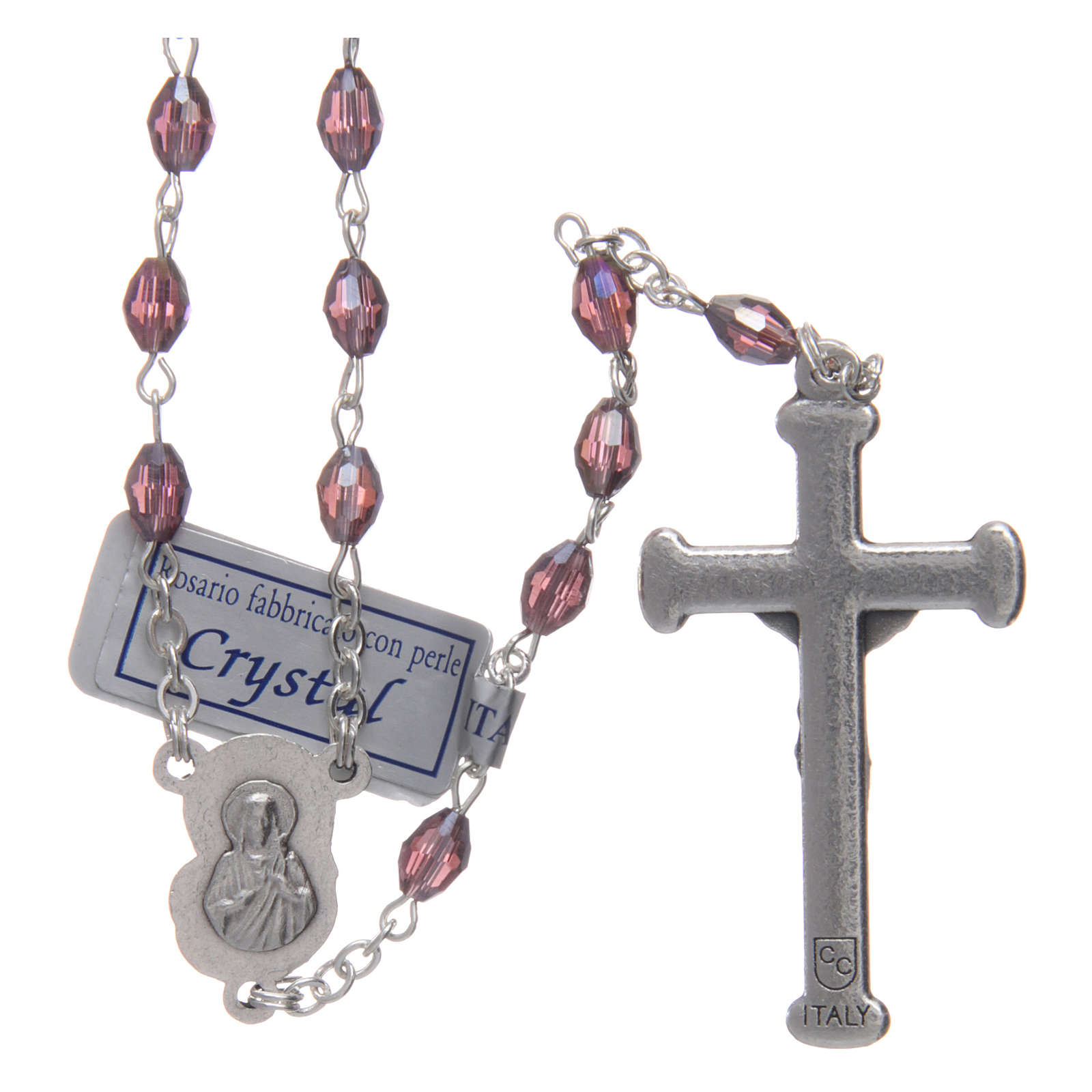 Rosary in amethyst crystal with cross and center piece in oxidised metal 4