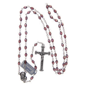 Rosary in amethyst crystal with cross and center piece in oxidised metal s4