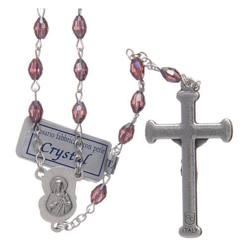 Rosary in amethyst crystal with cross and center piece in oxidised metal 2