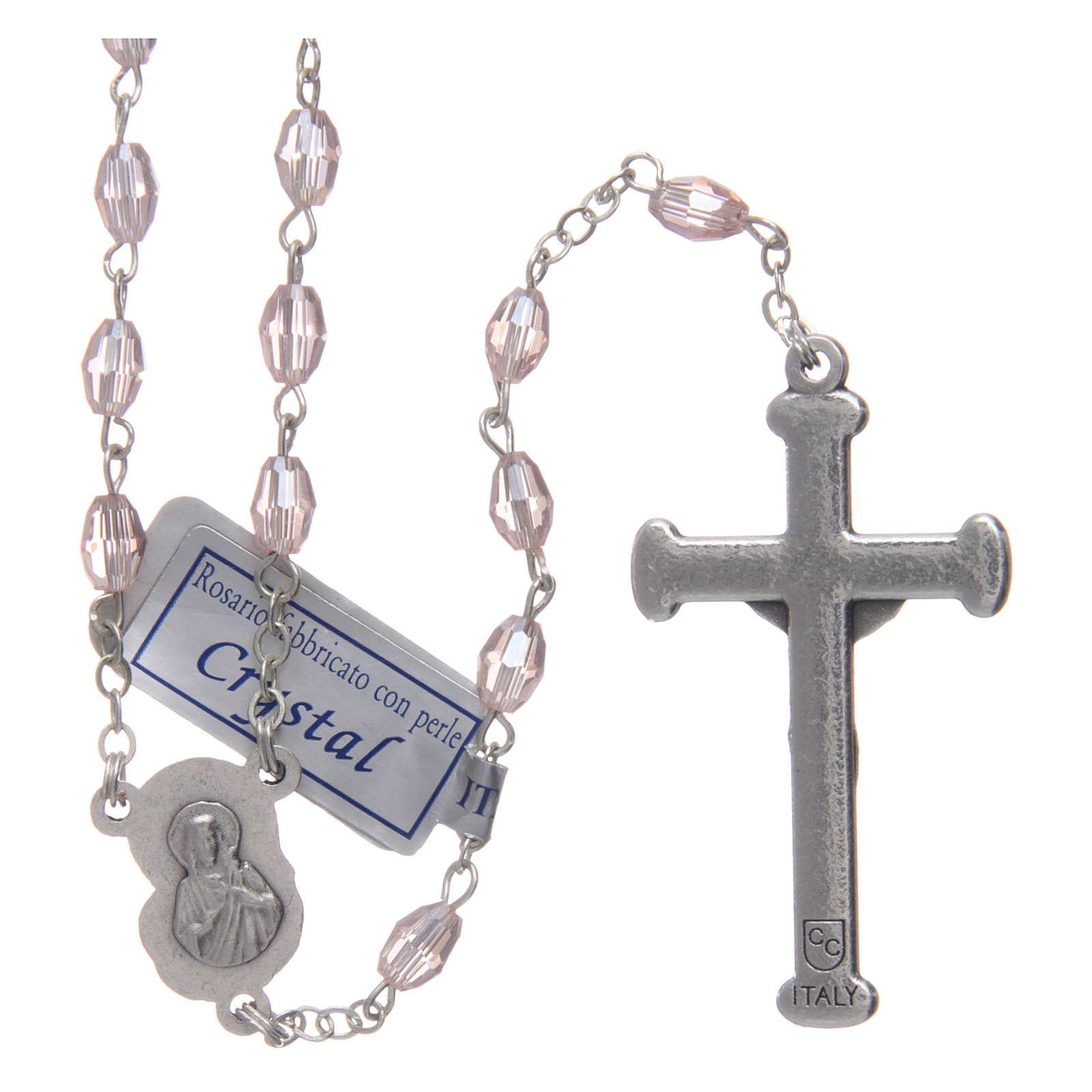 Rosario rosa in cristallo con croce e crociera in metallo ossidato 4