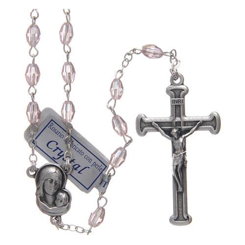 Rosario rosa in cristallo con croce e crociera in metallo ossidato 1