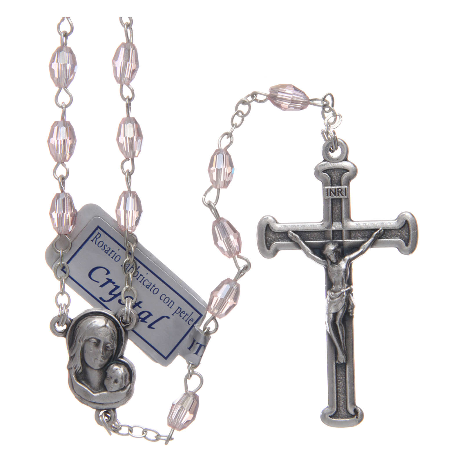 Rosary in pink crystal with cross and center piece in oxidised metal 4