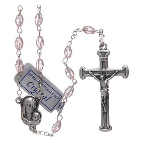 Rosary in pink crystal with cross and center piece in oxidised metal 1