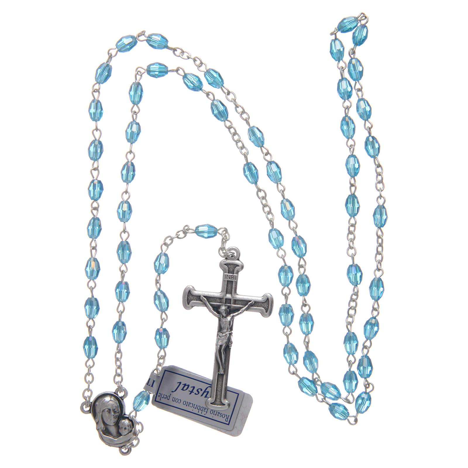 Rosario acqua in cristallo con croce e crociera in metallo ossidato 4