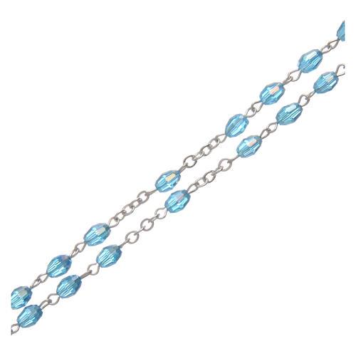 Rosario acqua in cristallo con croce e crociera in metallo ossidato 3