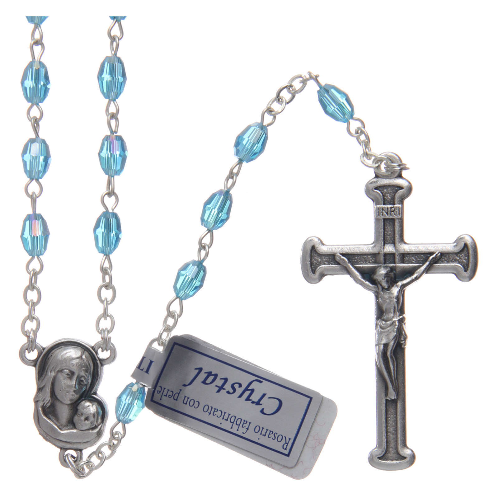 Rosary in aqua green crystal with cross and center piece in oxidised metal 4