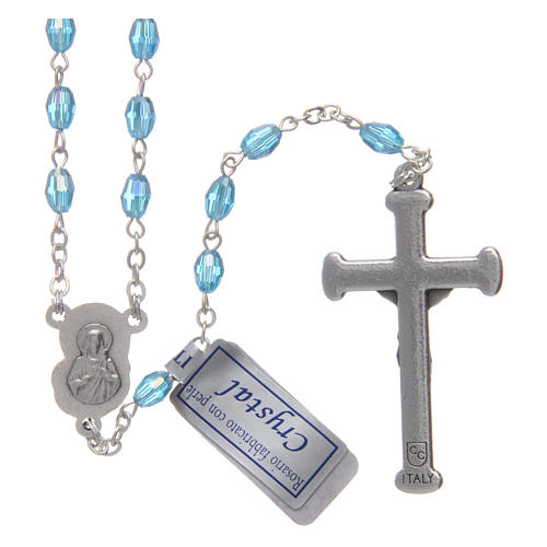 Rosary in aqua green crystal with cross and center piece in oxidised metal 2